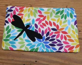 Dragonfly Rainbow Floral Zipper Pouch