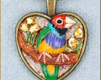 Hand Sculpted Gouldian Finch Necklace by Kristy Zgoda