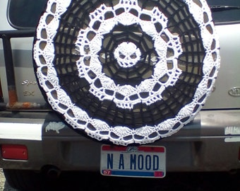 Spider Webs and Skulls Tire Cozy Spare Tire Cover Crocheted FREE SHIPPING Perfect for Hummer Jeep Kia Sportage Honda CRV Toyota Rav4 etc
