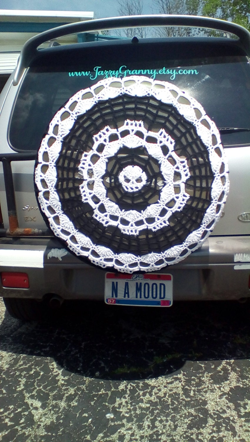 spider webs and skulls tire cozy spare tire cover crocheted