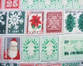 Memento Santa Stamps Fringe Christmas Silver Hoffman Fabric Yard