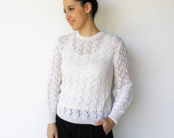 Vintage Handknit Sweater / White Sweater with Pearls / Size L