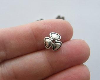 14 Flower bead caps antique silver tone CAP12