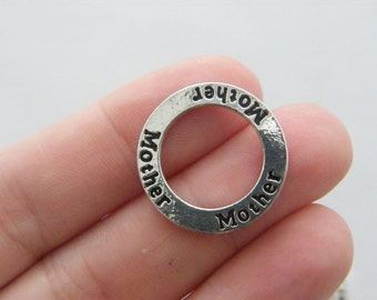 4 Mother pendants silver tone M333