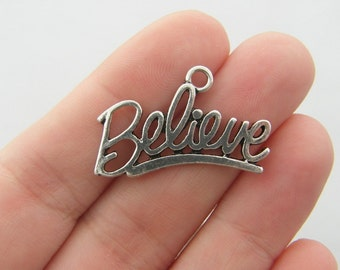 4 Believe charms antique silver tone M99