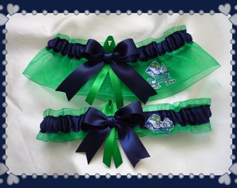 Notre Dame Green Organza Ribbon Wedding Garter Set