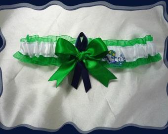 Green Organza Ribbon Wedding Garter Toss Made with Notre Dame Fabric
