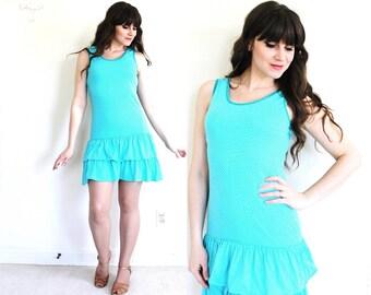 90s Dress / 1990s 1980s Scooter Mini Dress / Turquoise Ruffle Dress
