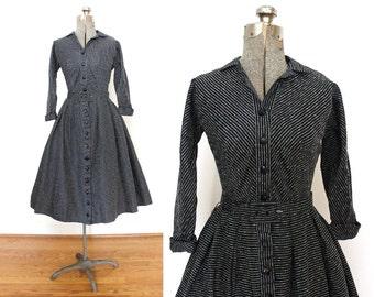 1950s Dress / Black Striped 50s Dress / 50s Full Skirt Shirtwaist Cocktail Dress