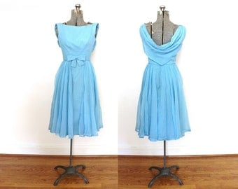 Vintage Bridesmaid Dress / 1960s 1950s Powder Blue Chiffon Party Dress