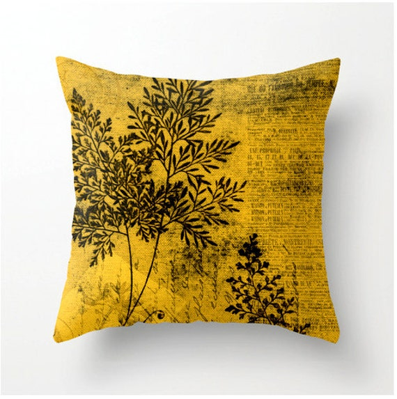 YELLOW GOLD BOTANICAL decorative throw pillow colorful