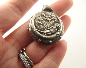 Moon Goddess Locket - Sterling Silver - Vintage