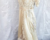 Titanic wedding dress champagne satin ivory antique size small