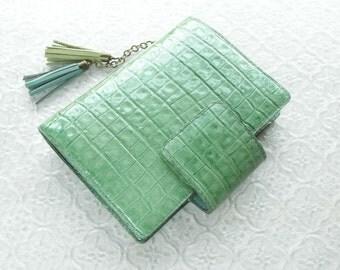 leather binder, handstitched, light emerald, mint planner, green planner, leather planner, leather organizer, for filofax pocket refills