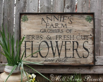 Aged Primitive Farm, Herbs and Flowers wooden sign PERSONALIZED