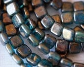 6mm CzechMates Tile Beads - Picasso Teal - Picasso Czech Glass Beads - Two Hole Tile Beads - Bead Soup Beads