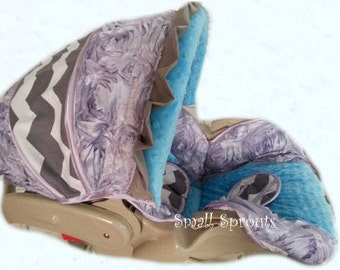 lilac 3D Rosette Roses/Gray Chevron/Turquoise minky Dot Infant Car Seat Cover 5 Piece set