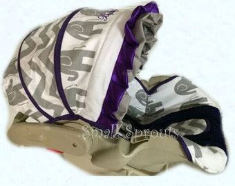 Ellie Grey/Grey Chevron/Purple Minky Dot Infant Car Seat Cover 5 Piece set
