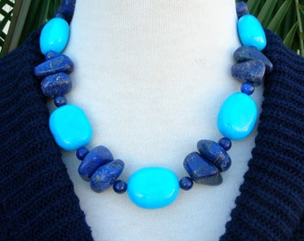 Bold Turquoise & Blue Lapis, Chunky Necklace, Matching Earrings, Set by SandraDesigns