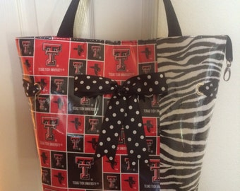 Large  Texas Tech Red Raiders Zebra Tote with Black dot