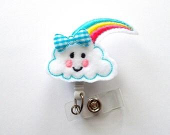 Happy Rainbow Cloud - Retractable ID Badge Reel - Pretty Badge Holder - Cute Badge Reel - Nurse Badge Holder - Nursing Badge Clip - RN Gift