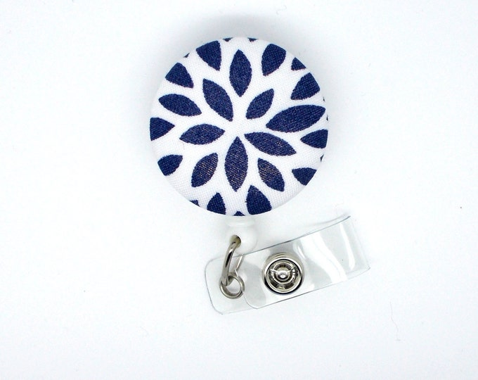 Blue and Navy Flower - Name Badge Holder - Retractable ID Badge Reel - Teacher Badge Clip - Nurse Badge Holder - Unique Badge Reel - RN
