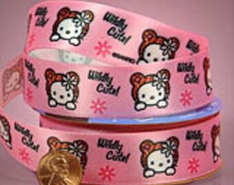 "7/8"" Pink Brown Hello Kitty Satin Ribbon"
