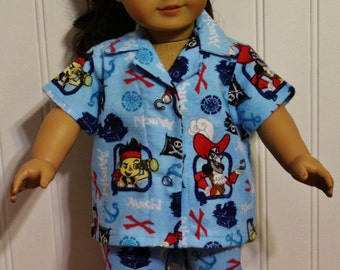 JAKE NEVERLAND Treasure Quest Flannel Pajamas fit 18inch Dolls  -  Proudly Made in America