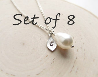 Bridesmaid Gift Set, 8 Pearl Necklaces, Teardrop Pearl with Initial Charm, Wedding Jewelry, Silver Pearl Jewelry, Bridesmaid Necklaces
