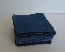 "5"" Jeans Quilt Blocks- 50 Blue Upcycled Squares"