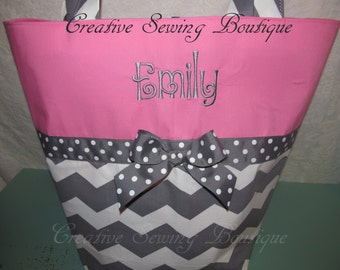Gray Chevron diaper bag tote bag baby bag hot pink gray chevron diaper bag or large tote you choose name