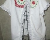 Wearable Art Reconstructed Upcycled cap sleeves Sweat shirt Jacket with red roses crochet and eyeet lace SALE