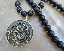 Tibetan Dragon Necklace 108 Bead Ebony Mala Dragon Pendant Martial Arts Gift  Asian Dragon Necklace Mala Necklace  Zen Gift  Mala Beads
