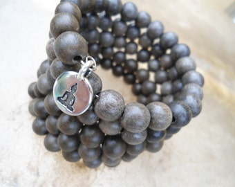 Mens Yoga Bracelet 108 Bead Mala Bracelet Yoga Gift Yoga Inspired Meditation Beads Japa Mala Mens Mala Bracelet Natural Grey Wood Zen Gift