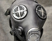 Industrial Fang Gas Mask w Machined Hardware, Antiqued Silver - MS052AN