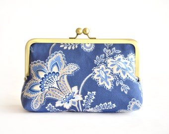 Blue Flower Clutch Wedding Bridesmaids Personalized Clutches Gift Handmade Bags Bachelorette Party Customize