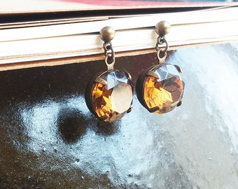 Clearance SALE brown vintage glass earrings