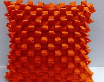 triangular pleated pyramid shaped three -D orange cushion decorative cushion modern bed pillow sewing pattern bedroom decor silk cushion
