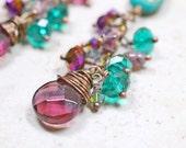 Beaded Chandelier Earrings, Purple and Teal Green Chandelier Earrings, Bohemian Earrings, Wild and Funky Boho Dangles One of a Kind Earrings