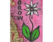 ACEO Original Grow Mixed Media Art Card, ATC, Flower, SFA, Miniature Art, Collectible Cards, Artist Trading Cards, Mini Art Original