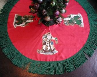 "Christmas Tree Skirt, Red and Green , OLE Father Christmas, RED Tree Skirt, Trimmed in 5"" inch Green Bullion Fringe, Christmas Tree Skirt"