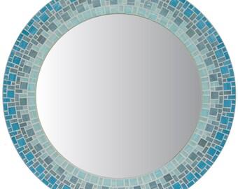Round Wall Mirror - Aqua & Gray Mosaic