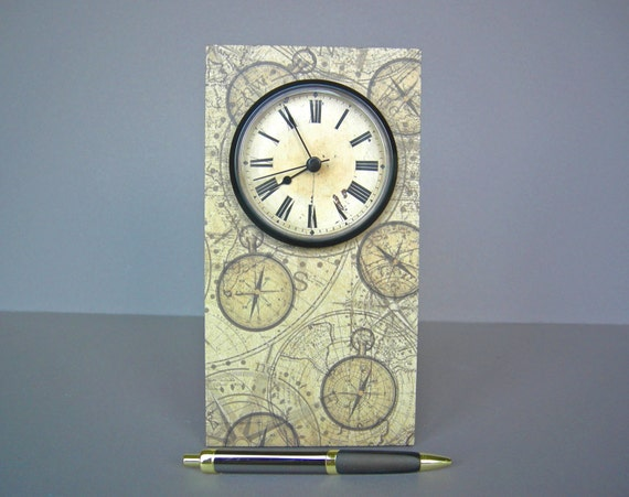 Steampunk styled desk clock old world styled mantle clock - Steampunk mantle clock ...