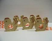 Vintage Set of 5 Handpainted Wooden Chicken Napkin Holders