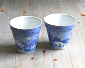 """Pair of Decorative Flower Pots """"The Farmers Home - Winter"""" By Currier and Ives in Cobalt Blue and White and Gold  Ask a Question"""