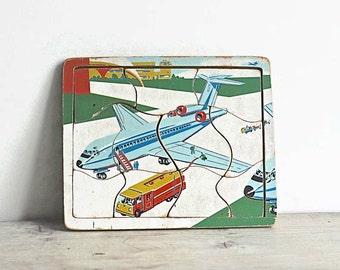 Vintage Wood Puzzle Airplane Airport Fule Truck