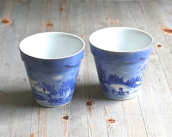 "Pair of Decorative Flower Pots ""The Farmers Home - Winter"" By Currier and Ives in Cobalt Blue and White and Gold  Ask a Question"