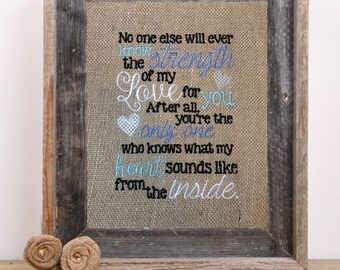 Embroidered Burlap Wall Art - no one else