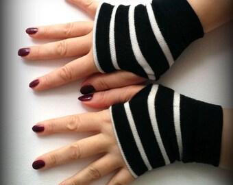SALE GLOVES Black fingerless   gloves with white strips