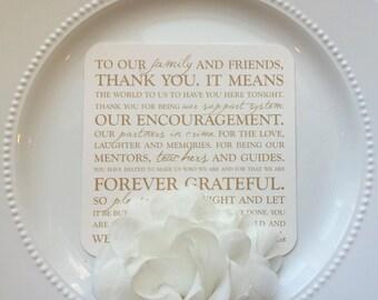 Printed Wedding Reception Thank You Card | Wedding Thank You Card | Thank You Card | Thank You  - Style TY6 - OCTAVIA  COLLECTION